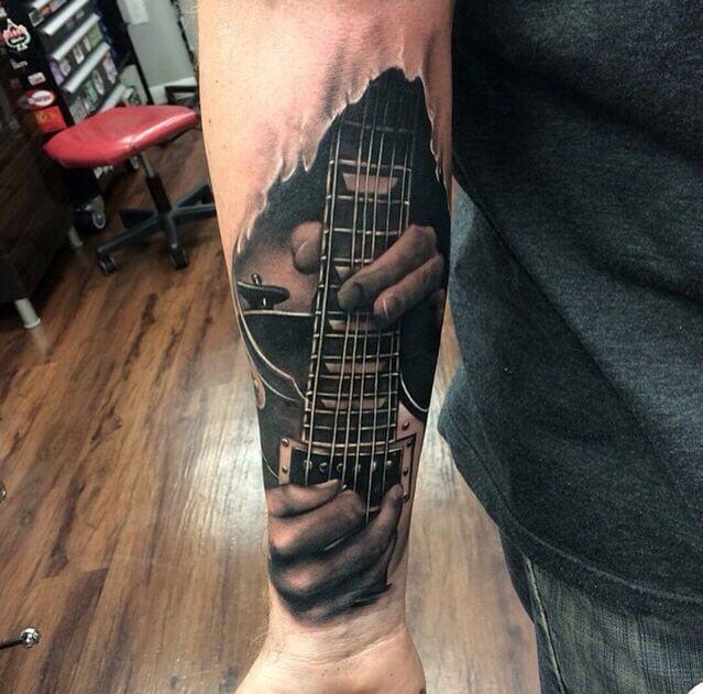 realistic-guitar-tattoo