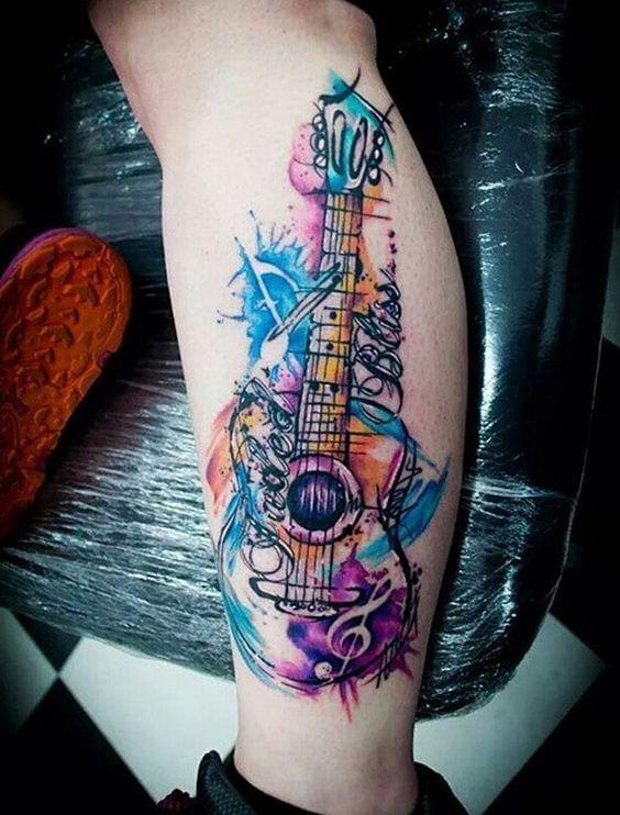 guitar-watercolour-tattoo
