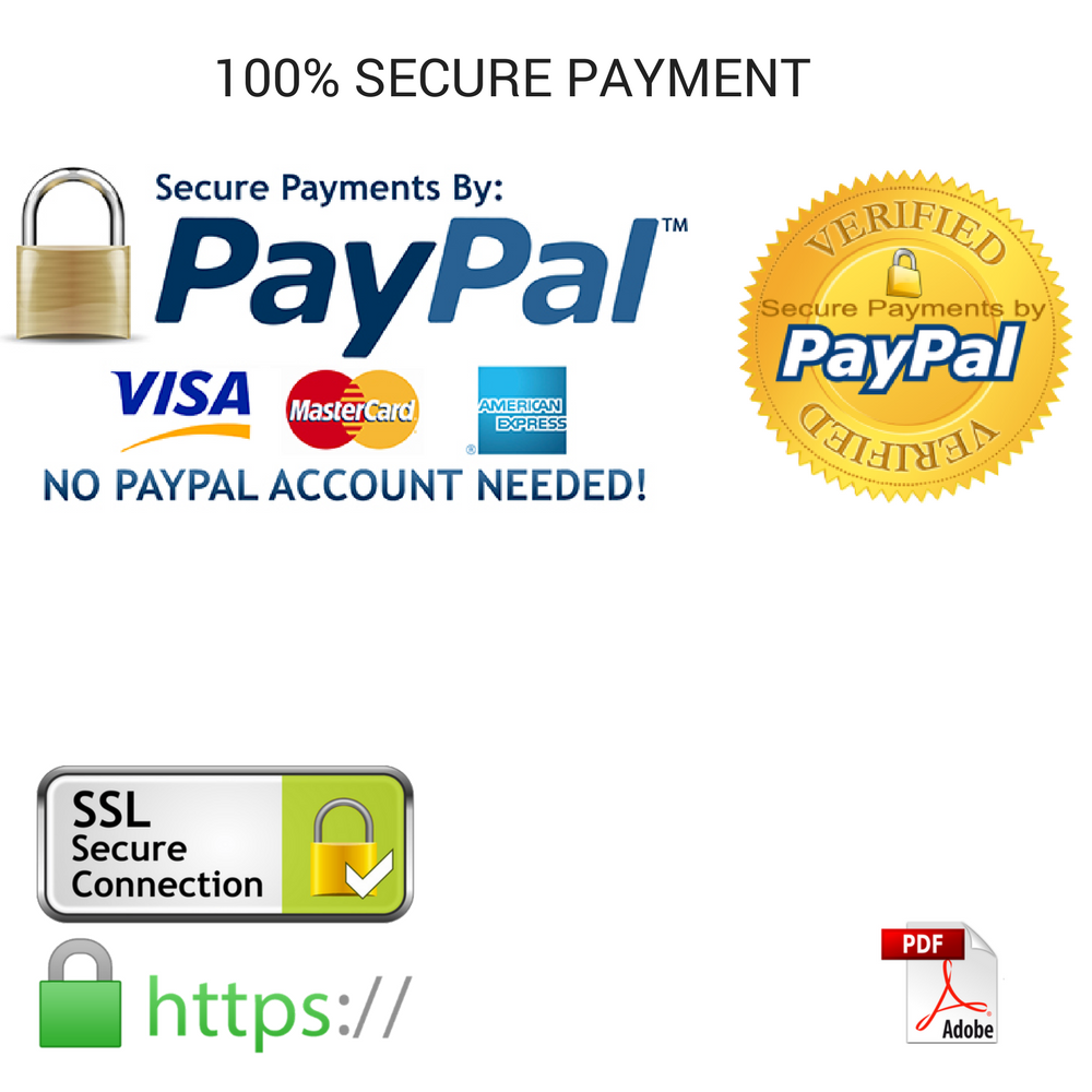 100% SECURE PAYMENT Paypal SSL