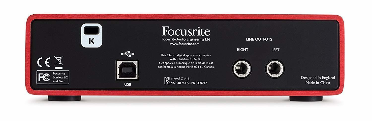 Focusrite Scarlett 2i2 (2nd Gen) USB Audio Interface - BACK