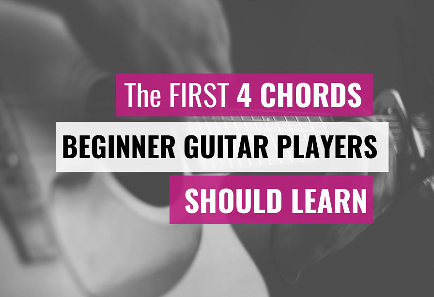 First 4 beginner guitar chords e major chord e minor chord a major chord a minor chord open easy guitar chords