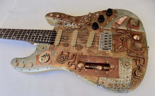 Steampunk electric guitar sculpture gift industrial unique gifts for him