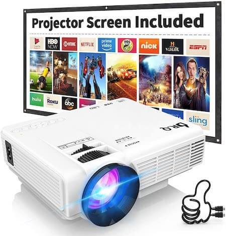 Movie Projector with Projection Screen 1080P Full HD Guitar player gift ideas