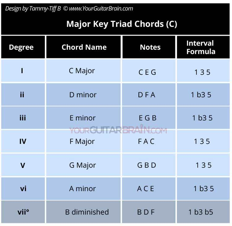 Building Chords major scale chords in the key of c major beginner guitar lesson