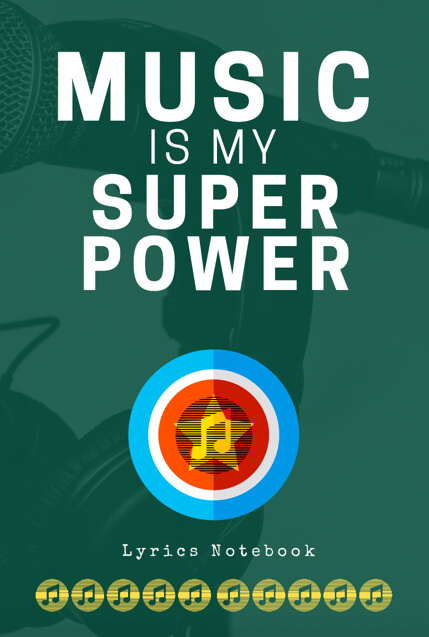 music lyric notebook songwriters musicians composers lined ruled paper superpower