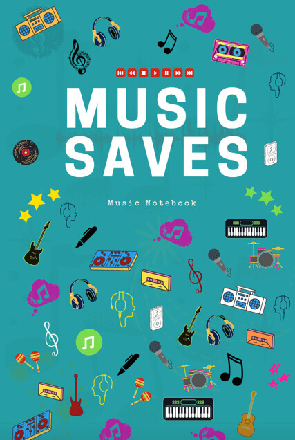 music lyric staff manuscript notebook songwriters musicians composers lined ruled paper aqua