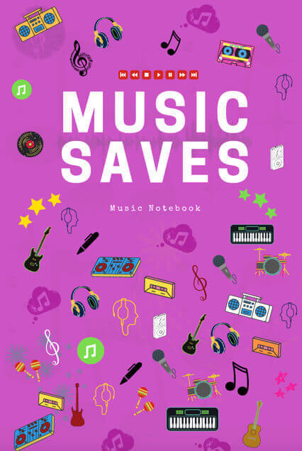 music lyric staff manuscript notebook songwriters musicians composers lined ruled paper pink